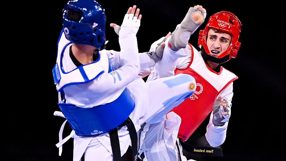 Seen here, Jack Woolley competing for Ireland in taekwondo at the Olympic Games.
