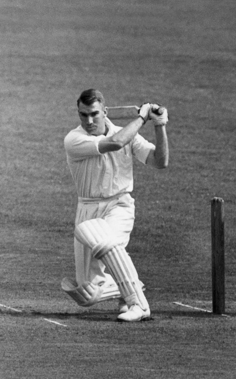 In action for New Zealand against Surrey at East Molesey in 1949 - Harrison /Topical Press Agency/Getty Images