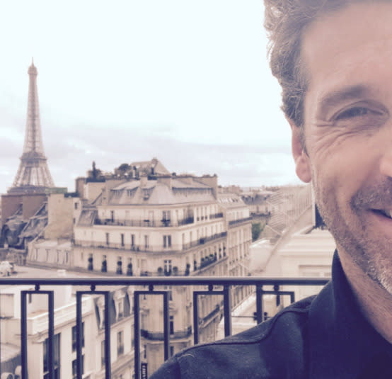 """<p>A little bit of Patrick Dempsey, pictured here in May, paired with a lotta scenic Paris equals joy. (Photo: <a rel=""""nofollow noopener"""" href=""""https://twitter.com/PatrickDempsey/status/863517482291675137/photo/1"""" target=""""_blank"""" data-ylk=""""slk:Patrick Dempsey via Twitter"""" class=""""link rapid-noclick-resp"""">Patrick Dempsey via Twitter</a>) </p>"""