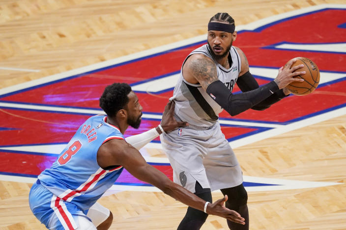 Brooklyn Nets forward Jeff Green (8) guards against Portland Trail Blazers forward Carmelo Anthony (00) during the second half of an NBA basketball game, Friday, April 30, 2021, in New York. (AP Photo/Mary Altaffer)