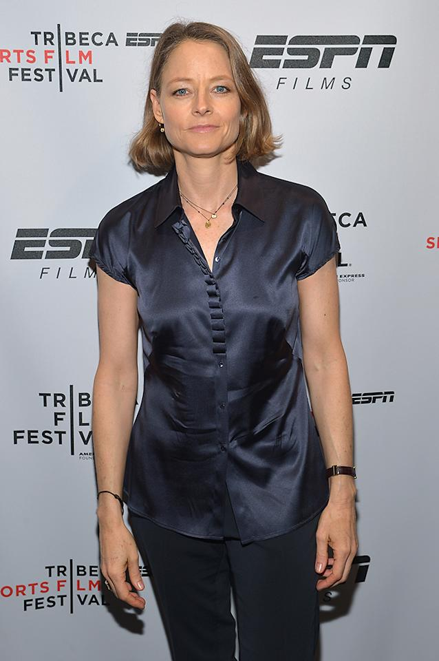 "NEW YORK, NY - APRIL 19:  Actress Jodie Foster attends the ESPN Sports Film Festival Gala: ""Big Shot"" after party during the 2013 Tribeca Film Festival on April 19, 2013 in New York City.  (Photo by Mike Coppola/Getty Images for 2013 Tribeca Film Festival)"