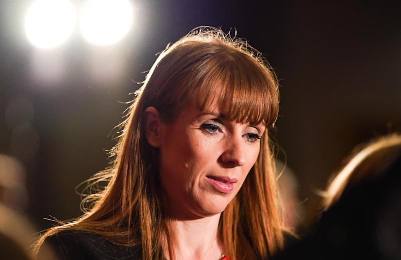 DURHAM, ENGLAND - FEBRUARY 23: Angela Rayner, Shadow Secretary of State for Education talks to audience members during the Labour Party Deputy Leadership hustings at the Radisson Blu Hotel on February 23, 2020 in Durham, England. Ian Murray, Angela Rayner, Richard Burgon, Dr Rosena Allin-Khan and Dawn Butler are vying to become Labour's deputy leader following the departure of Tom Watson, who stood down in November last year. The ballot will open to party members and registered and affiliated supporters on February 24. (Photo by Ian Forsyth/Getty Images)