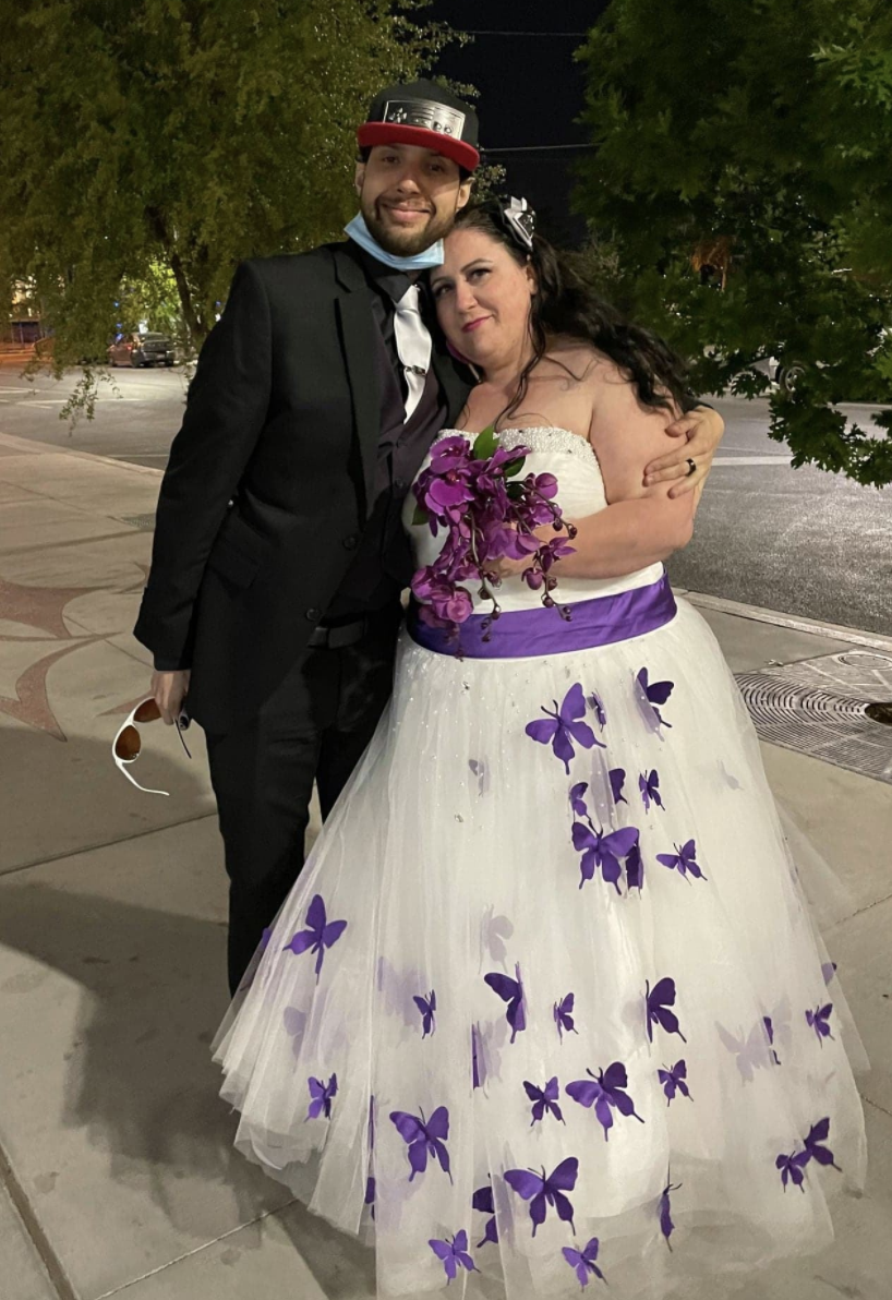 Omar Delaney, accused of raping another woman just hours before his wedding day, is pictured with wife Tamara.
