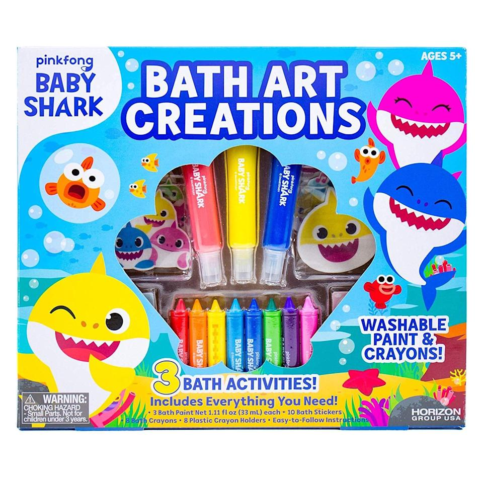 <p>Not even the bath is safe from Baby Shark! Get the <span>Baby Shark Bath Art Creations by Horizon Group USA</span> ($17) for maximum fun.</p>