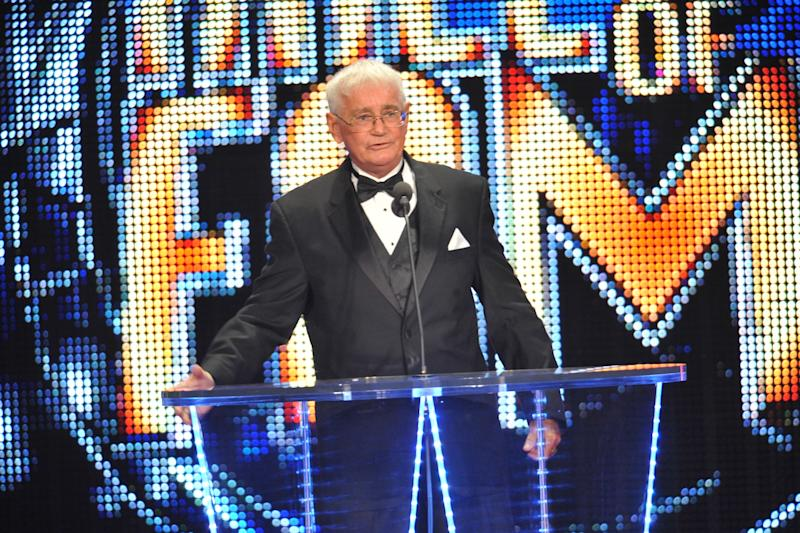 Bob Armstrong speaks at his WWE Hall of Fame induction ceremony.