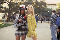<ul> <li><strong>What to wear for Cher:</strong> A yellow plaid skirt and matching blazer, white button-down top and knee-highs, and black patent leather Mary Janes.</li> <li><strong>What to wear for Dionne:</strong> A black-and-white plaid skirt with matching blazer, white button-down top and knee-highs, black patent leather Mary Janes, and a giant plastic dome-shaped hat. Also, long braids.</li> <li><strong>How to act:</strong> Like you're the most popular girls at the party. Be on the lookout for Baldwins. Avoid Barneys.</li> </ul>