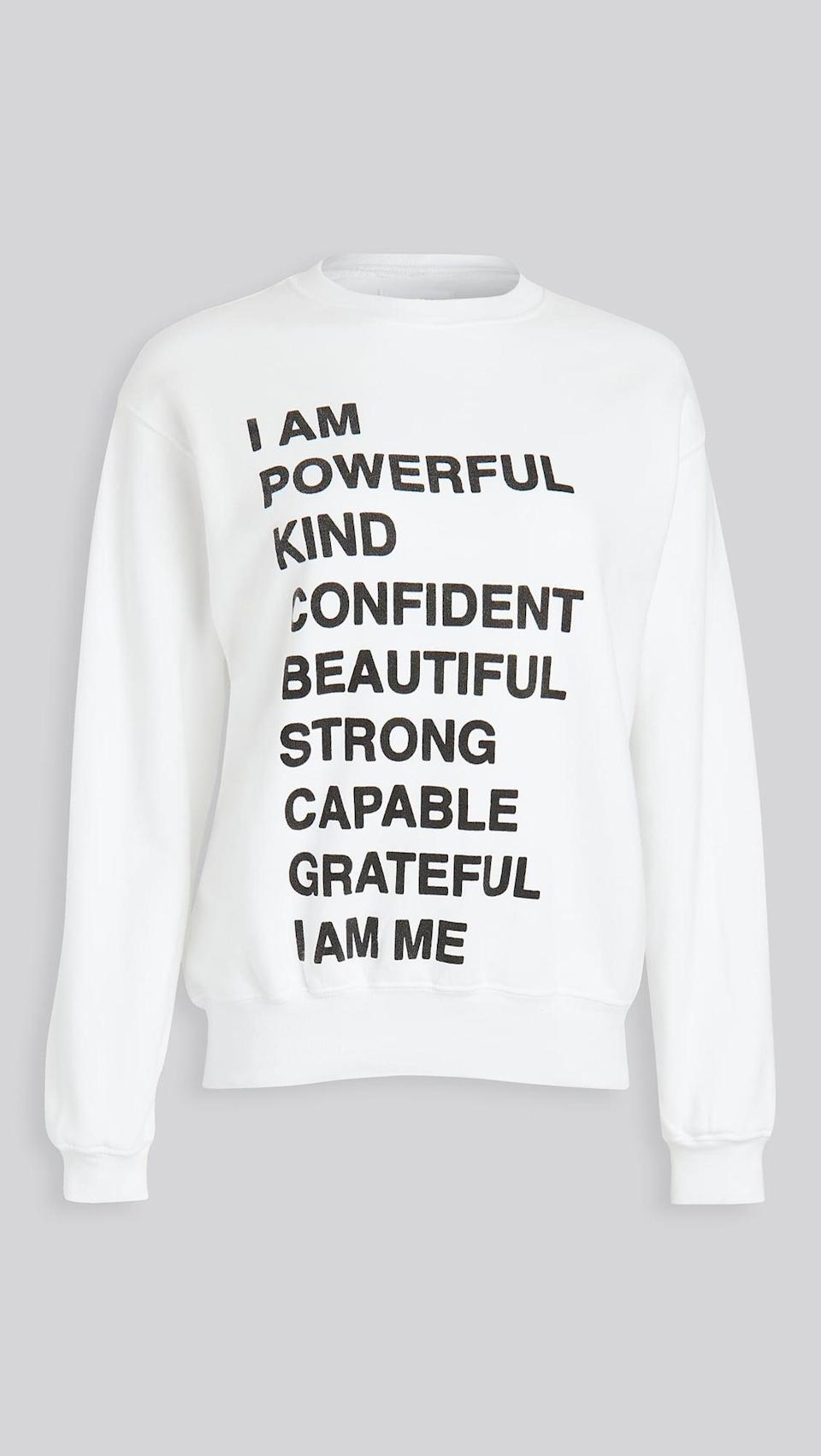 """<p><span>Anine Bing Ramona Empowerment Sweatshirt</span> ($169)</p> <p>""""This sweatshirt if the perfect way to tell a friend how awesome they are! We can all use a reminder of how we are these wonderful qualities so make someone feel special by gifting them Annie Bing's Romona sweatshirt that says it all for you!"""" - Lisa Sugar, president, POPSUGAR</p>"""