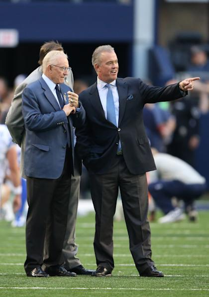 The Cowboys are a family business for Jerry (left) and Stephen Jones. (USA TODAY Sports)