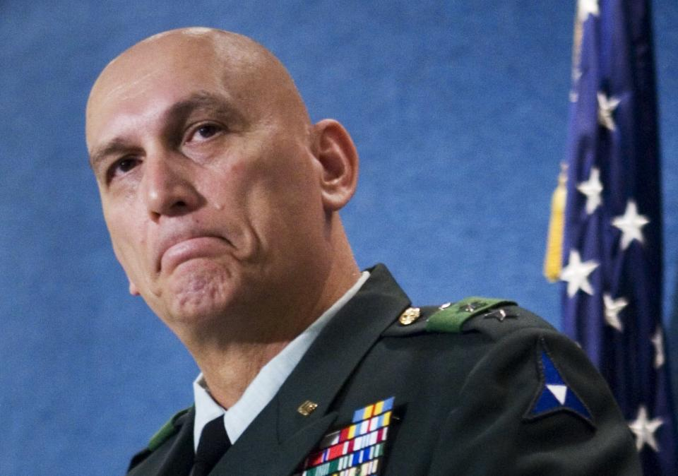 FILE - In this Oct. 2, 2007 file photo, Lt. Gen. Raymond T. Odierno, who serves as the commanding general of Multi-National Corps-Iraq, gives an update on conditions, where he has served in his current leadership capacity since Dec. 2006 during a news conference at the National Press Club in Washington. Odierno, a retired Army general who commanded American and coalition forces in Iraq at the height of the war and capped a 39-year career by serving as the Army's chief of staff, has died, his family said Saturday, Oct. 9, 2021. He was 67. (AP Photo/Manuel Balce Ceneta, File)