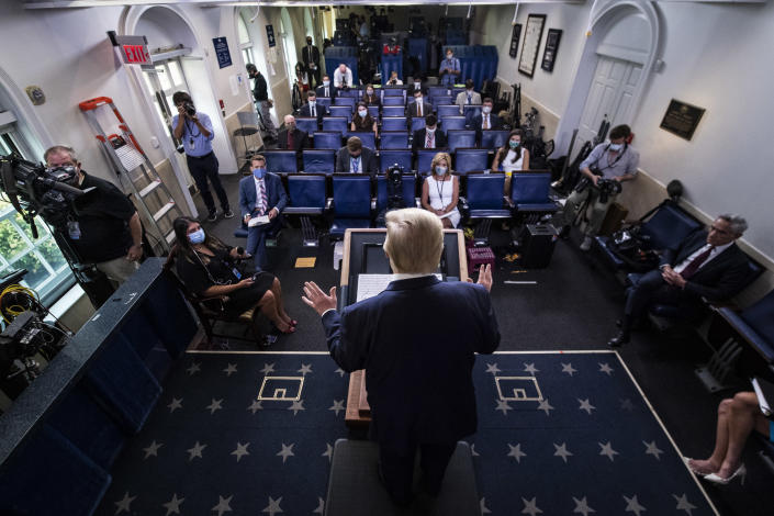 President Trump at a COVID-19 coronavirus briefing at the White House in August. (Jabin Botsford/The Washington Post via Getty Images)