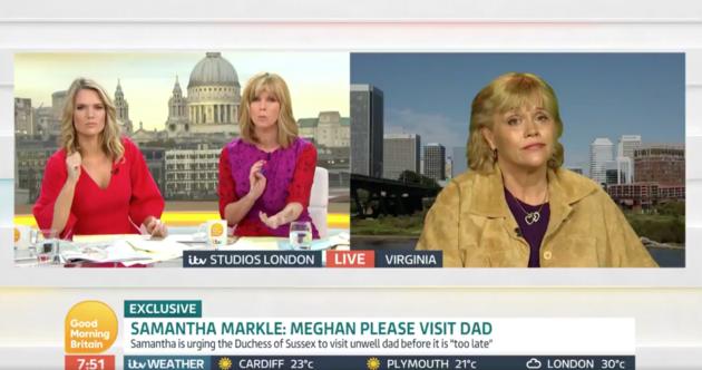 Charlotte Hawkins and Kate Garraway interviewed Samantha over video link