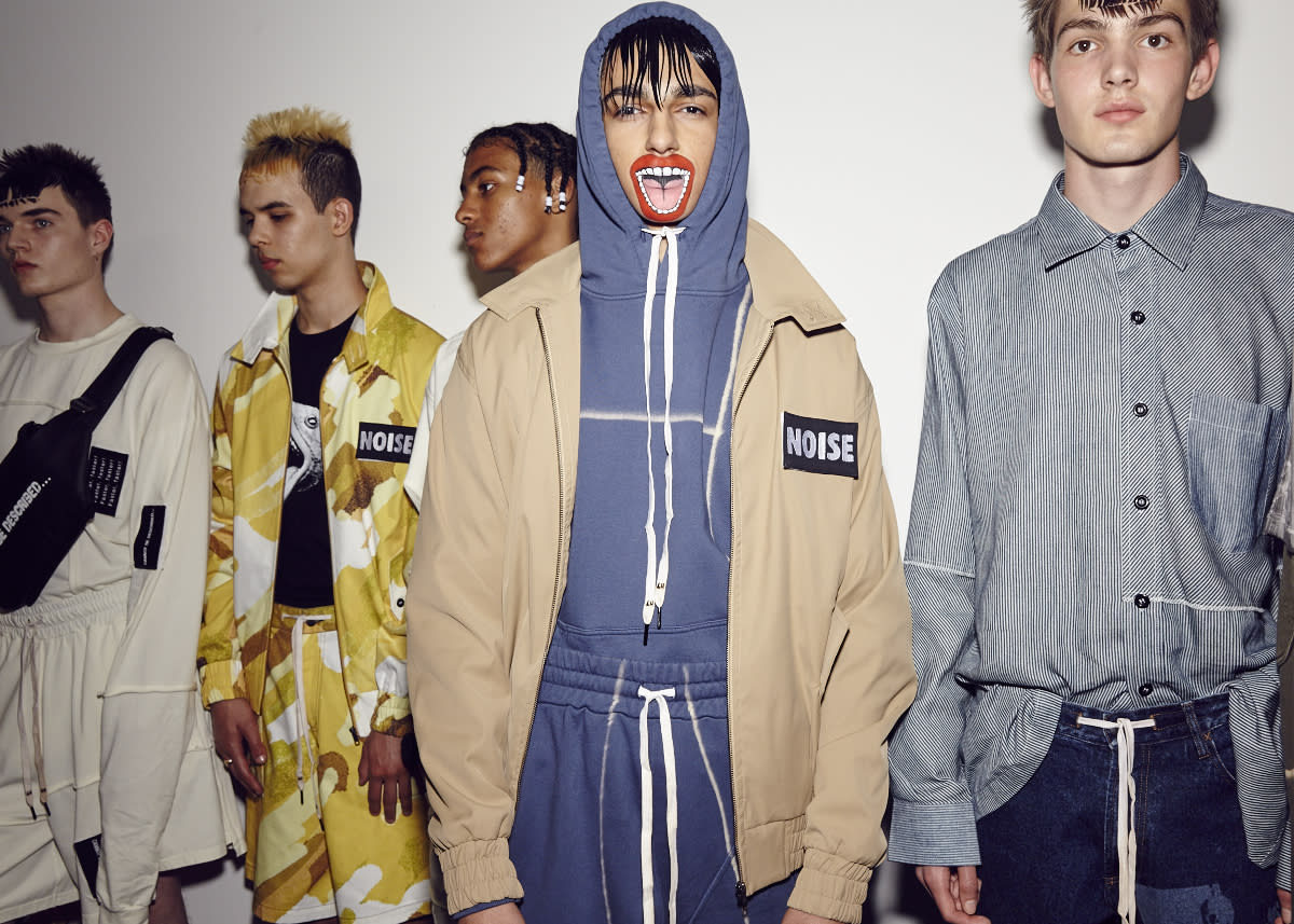 <p>Liam Hodges' ninth collection was full of noise. And a screaming bear.<br /><i>[Photo: BFC]</i> </p>