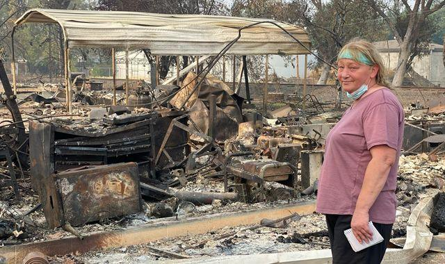 Oregon wildfires: Searching for her father's ashes in the charred remains of her home