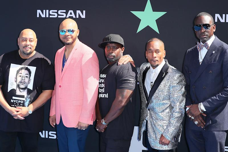 Raymond Santana Jr., Kevin Richardson, Antron McCray, Korey Wise and Yusef Salaam -- aka the Central Park Five -- attend the 2019 BET Awards. (Photo: Leon Bennett via Getty Images)