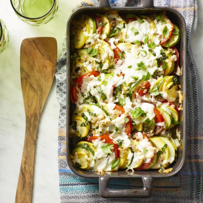 <p>A summertime favorite--zucchini casserole--gets an Italian spin in this delicious and healthy side dish with tomatoes, mozzarella and basil. You can use zucchini or summer squash in this caprese-style casserole, or a combination of the two. A sprinkling of fresh basil and a drizzle of balsamic vinegar just before serving brightens up the flavors. Serve with grilled or roasted chicken and some quinoa, rice or couscous to soak up the juices from the casserole for a satisfying and easy dinner.</p>