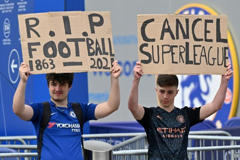 Chelsea fans protested outside Stamford Bridge on Tuesday