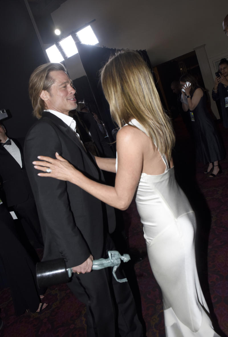LOS ANGELES, CALIFORNIA - JANUARY 19: Brad Pitt and Jennifer Aniston attend the 26th Annual Screen Actors Guild Awards at The Shrine Auditorium on January 19, 2020 in Los Angeles, California. (Photo by Vivien Killilea/Getty Images for SAG-AFTRA)
