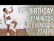 """<p>A workout that can be made more or less challenging depending on what equipment you have at home, help celebrate Puzzle Fit's Crystal's 37th birthday with a 37-minute workout. </p><p><a href=""""https://www.youtube.com/watch?v=TiHs5YrDeFQ&ab_channel=PuzzleFit"""" rel=""""nofollow noopener"""" target=""""_blank"""" data-ylk=""""slk:See the original post on Youtube"""" class=""""link rapid-noclick-resp"""">See the original post on Youtube</a></p>"""