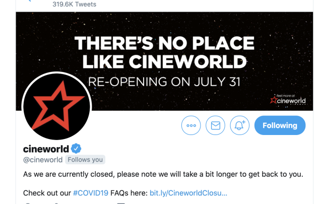 Cineworld has updated its Twitter banner with the new date. (Twitter)
