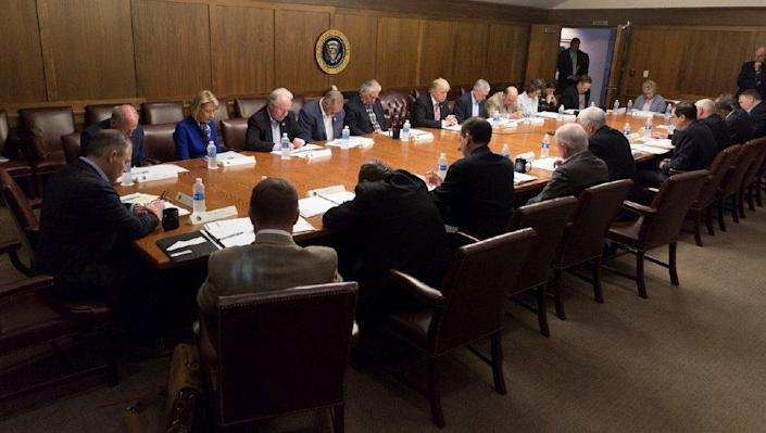 Trump with his Cabinet at Camp David during a meeting to discuss Hurricane Irma. (Photo: Courtesy of the White House)
