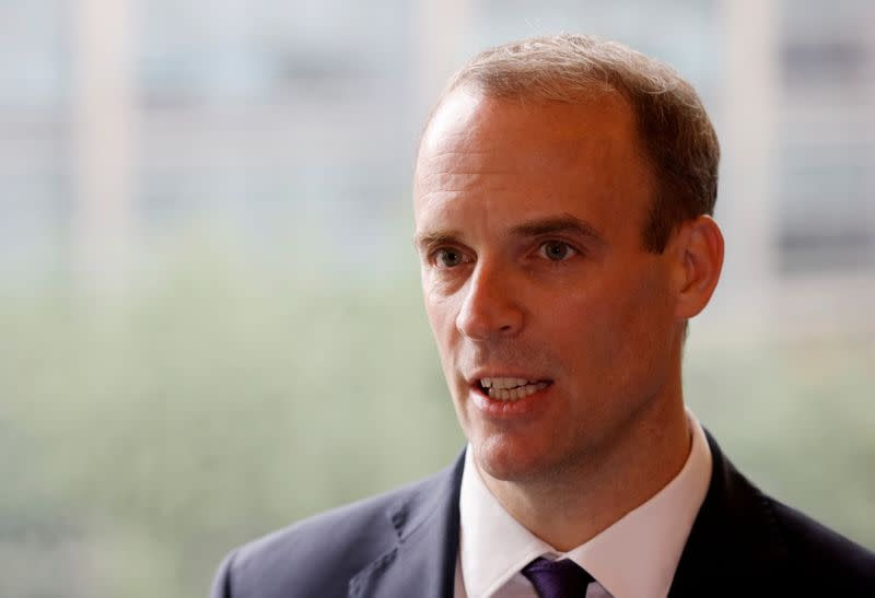 FILE PHOTO: Britain's Foreign Secretary Dominic Raab speaks during an interview with Reuters in Seoul
