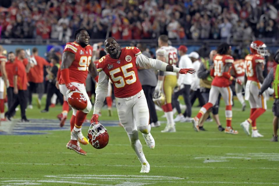 Kansas City Chiefs' Frank Clark celebrates after defeating the San Francisco 49ers in the NFL Super Bowl 54 football game Sunday, Feb. 2, 2020, in Miami Gardens, Fla. (AP Photo/Mark J. Terrill)