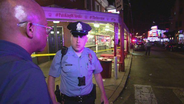 PHOTO: ABC News Chief Justice Correspondent Pierre Thomas embedded with the Philadelphia Police Department, during which there was a shooting in front of tourist destination Pat's King of Steaks.  (ABC News )
