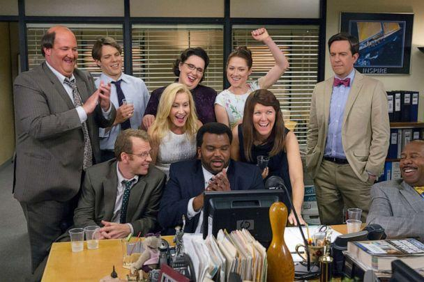 PHOTO: Shown in a scene from the final episode of THE OFFICE are (l-r) Brian Baumgartner, Jake Lacy, Paul Lieberstein, Angela Kinsey, Phyllis Smith, Craig Robinson, Ellie Kemper, Kate Flannery, Ed Helms, Leslie David Baker. (Chris Haston/NBCU Photo Bank/NBCUniversal via Getty Images)