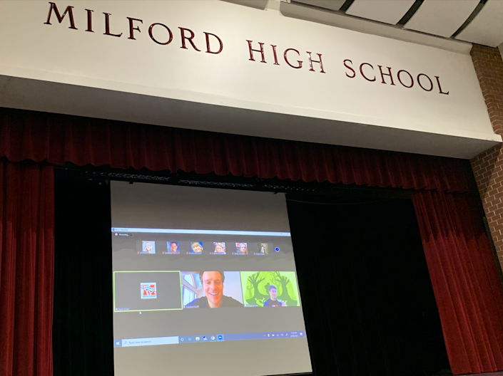 Jonathan Groff appears on Zoom at Milford High School.