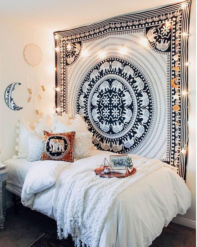 """<p>Yes, tapestries are very VSCO-esque and find their way into many freshman dorm rooms. The options are endless. You could go with anything from a heavily patterned one to one with a simple image on it.</p><p><a href=""""https://www.instagram.com/p/Byx0QYNAg6J/?utm_source=ig_web_copy_link"""" rel=""""nofollow noopener"""" target=""""_blank"""" data-ylk=""""slk:See the original post on Instagram"""" class=""""link rapid-noclick-resp"""">See the original post on Instagram</a></p>"""
