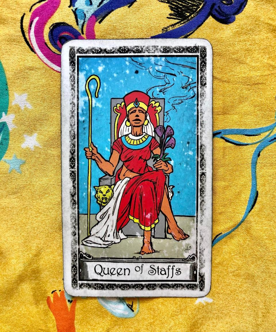 """<strong>Queen of</strong> <strong>Staffs</strong><br><br>The final card Potter pulled was the Queen of Staffs, which is all about being bold and expressing yourself completely. I'm sensing a theme here. """"To me, overall, the reading is don't be afraid to tell someone how you feel,"""" Potter explained. """"Your feelings are probably going to be returned.""""<br><br>Heads up: Potter said the Queen of Staffs is also a pretty sexy card, so whether you're in a committed partnership or not, V-Day might the perfect opportunity to add some heat to your weekend. <a href=""""https://www.refinery29.com/en-us/sex-bucket-list-ideas"""" rel=""""nofollow noopener"""" target=""""_blank"""" data-ylk=""""slk:Try something new in the bedroom"""" class=""""link rapid-noclick-resp"""">Try something new in the bedroom</a>, wear V-Day inspired lingerie, or go in for that first kiss — love isn't the only thing in the air this weekend.<br><br>Overall, this reading wants us to take charge of our romantic lives, be open with our feelings, and let this Valentine's Day be a time where we <em>really</em> open up. """"If you're questioning whether you should <a href=""""https://www.refinery29.com/en-gb/how-to-tell-someone-you-like-them"""" rel=""""nofollow noopener"""" target=""""_blank"""" data-ylk=""""slk:tell someone how you feel"""" class=""""link rapid-noclick-resp"""">tell someone how you feel</a>, the only thing you could lose is a missed opportunity,"""" Potter said. """"What the cards are showing me is that if you express how you feel, you're actually going to get really good results,"""" Potter said.<br><br>As we approach Valentine's Day, be bold — what's the worst that could happen?<span class=""""copyright"""">Photo: courtesy of Sarah Potter.</span>"""