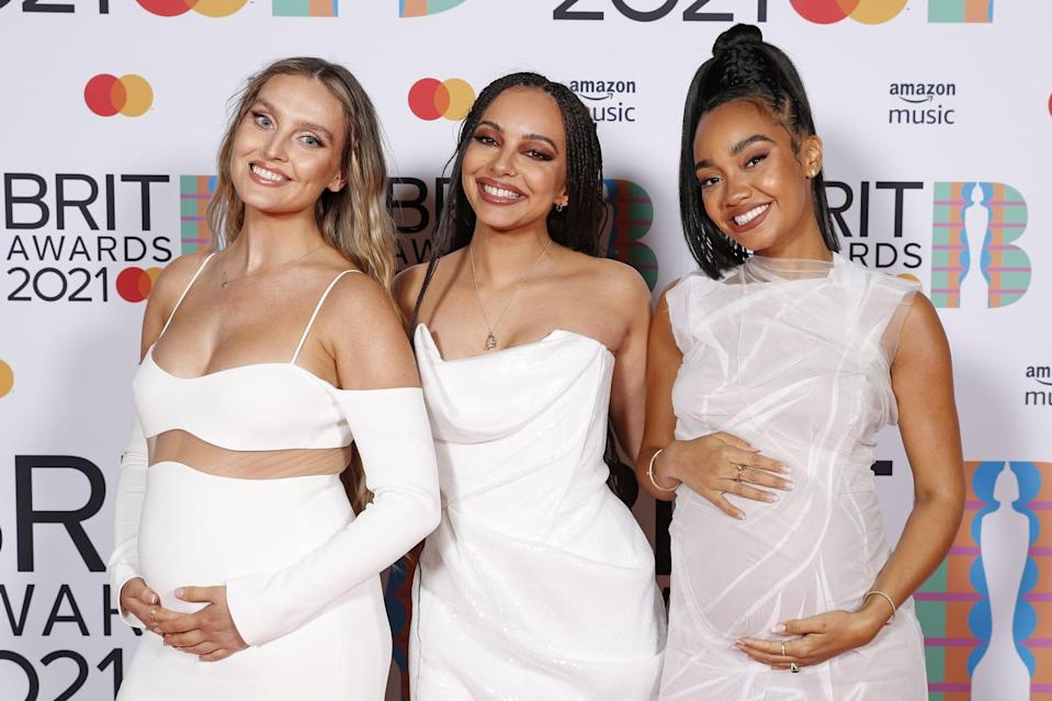 LONDON, ENGLAND - MAY 11: Perrie Edwards, Jade Thirlwall and Leigh-Anne Pinnock of Little Mix pose in the media room during The BRIT Awards 2021 at The O2 Arena on May 11, 2021 in London, England. (Photo by JMEnternational/JMEnternational for BRIT Awards/Getty Images)