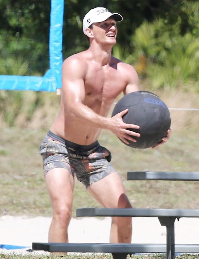 <p><i>The Bachelorette</i>'s Tyler Cameron plays a game of beach volleyball on Wednesday in Palm Beach, Florida.</p>
