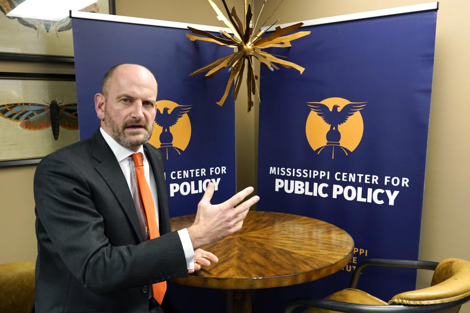 Douglas Carswell, a former member of Parliament in Britain for 12 years, and new President and CEO of The Mississippi Center for Public Policy, speaks of his duties at the free-market, conservative think tank based in Jackson, Miss., Thursday, Jan. 6, 2021. (AP Photo/Rogelio V. Solis)