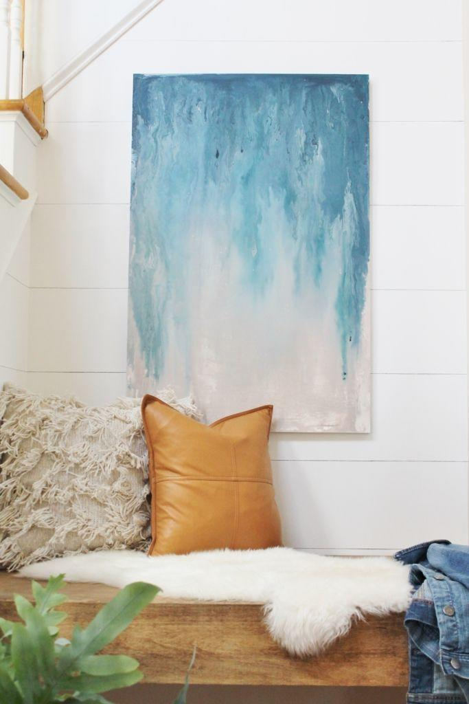 "<p>Layering a mix of navy blues, creams, and grays, you can turn some of your top paint colors and into a dreamy piece to proudly display in your home.</p><p><strong>Get the tutorial at <a href=""https://cityfarmhouse.com/2016/10/diy-abstract-art-using-paint-samples.html"" rel=""nofollow noopener"" target=""_blank"" data-ylk=""slk:City Farmhouse"" class=""link rapid-noclick-resp"">City Farmhouse</a>.</strong></p><p><a class=""link rapid-noclick-resp"" href=""https://www.amazon.com/Artlicious-Foam-Paint-Brush-Value/dp/B071RX5L8R/?tag=syn-yahoo-20&ascsubtag=%5Bartid%7C10050.g.31153820%5Bsrc%7Cyahoo-us"" rel=""nofollow noopener"" target=""_blank"" data-ylk=""slk:SHOP FOAM BRUSHES"">SHOP FOAM BRUSHES</a></p>"