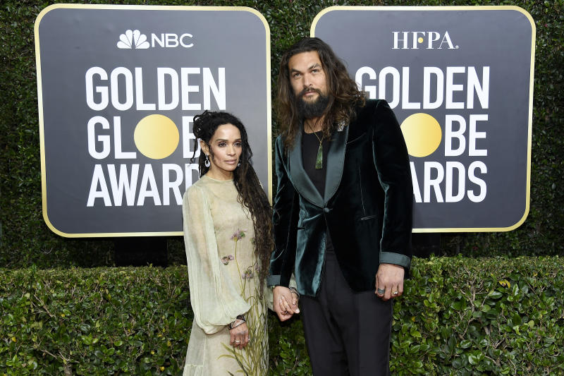 BEVERLY HILLS, CALIFORNIA - JANUARY 05: 77th ANNUAL GOLDEN GLOBE AWARDS -- Pictured: (l-r) Lisa Bonet and Jason Momoa arrive to the 77th Annual Golden Globe Awards held at the Beverly Hilton Hotel on January 5, 2020. -- (Photo by: Kevork Djansezian/NBC/NBCU Photo Bank via Getty Images)