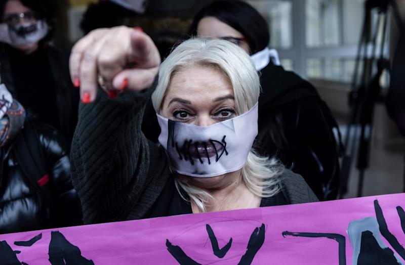A women's rights activist takes part in the protest (AFP via Getty Images)