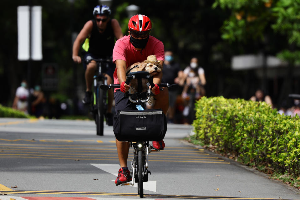 A cyclist rides with his pet dog at East Coast Park in Singapore.