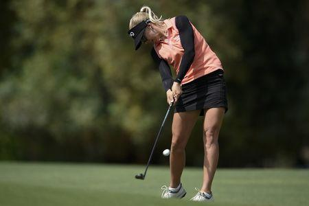 Mar 31, 2018; Rancho Mirage, CA, USA; Pernilla Lindberg attempts a shot on the second hole during the third round of the ANA Inspiration women's golf tournament at Mission Hills CC - Dinah Shore Tournament Course. Mandatory Credit: Kelvin Kuo-USA TODAY Sports
