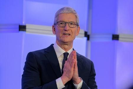 """Apple CEO Tim Cook speaks at the Anti-Defamation League's """"Never is Now"""" summit in New York City, New York, U.S., December 3, 2018. REUTERS/Brendan McDermid/Files"""