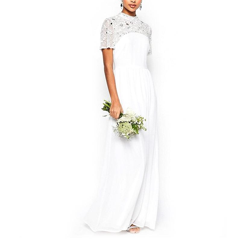 "<p><p><a rel=""nofollow"" href=""http://rstyle.me/n/cbv5phjduw"">ASOS Bridal High-Neck Embellished Maxi Dress</a>, $166.</p>"