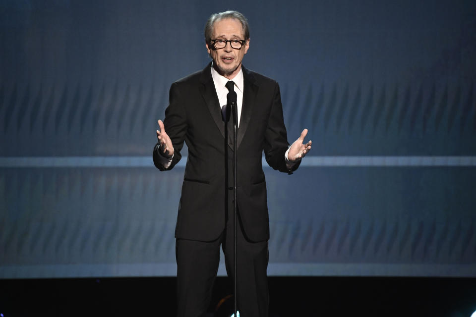 """Jan 19, 2020; Los Angeles, CA, USA; Steve Buscemi introduces a """"Shows that are ending"""" segment during the 26th Annual Screen Actors Guild Awards at the Shrine Auditorium. Mandatory Credit: Robert Hanashiro-USA TODAY /Sipa USA"""