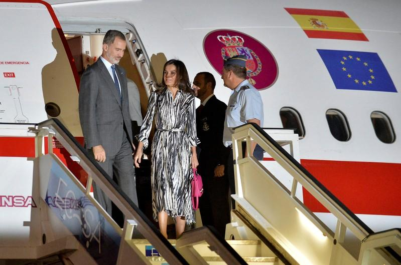 Spain's King Felipe and Queen Letizia arrive at the Jose Marti International Airport in Havana