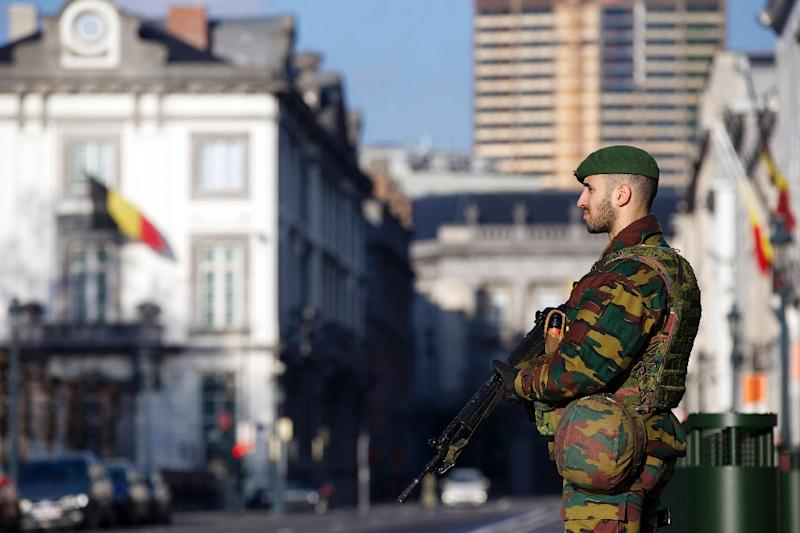 A Belgian soldier guards the US embassy in Brussels in 2015