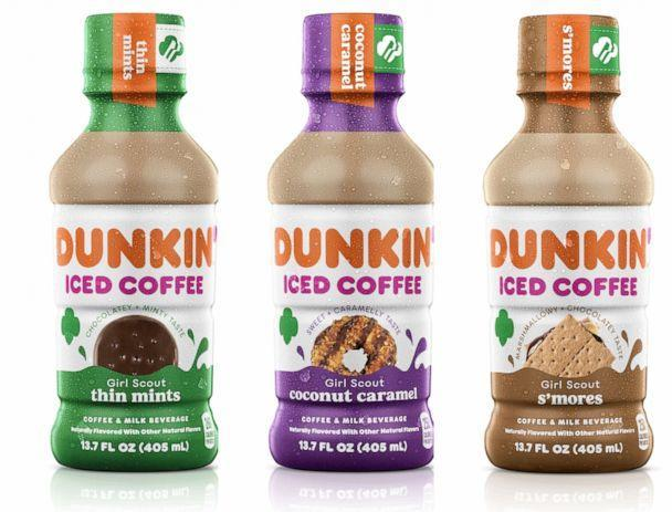 PHOTO: Dunkin' Iced Coffee in Girl Scout Cookie inspired flavors includes Thin Mints, Coconut Caramel and S'mores. (Dunkin')
