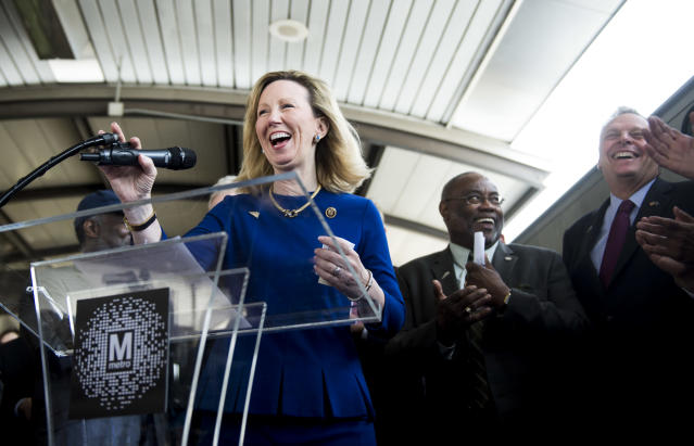 Comstock speaks at a press conference in 2015 at Reagan National Airport during the Washington Metropolitan Area Transit Authority media preview of new Metro trains. (Photo: Bill Clark/CQ Roll Call)
