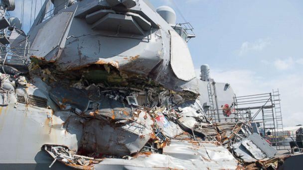PHOTO: The USS Fitzgerald sits in Dry Dock 4 at Fleet Activities Yokosuka, Japan to continue repairs and assess damage sustained from its June 17, 2017 collision with a merchant vessel. (U.S. Navy via Getty Images)