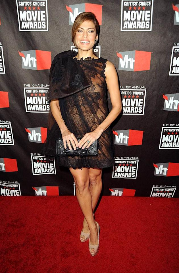 """Eva Mendes wowed at the Critic's Choice Awards in an organza lace Fall 2009 Valentino Couture mini. Brian Atwood """"Wagner"""" nude peep-toes completed her scorching look. Jeff Kravitz/<a href=""""http://www.filmmagic.com/"""" target=""""new"""">FilmMagic.com</a> - January 14, 2011"""