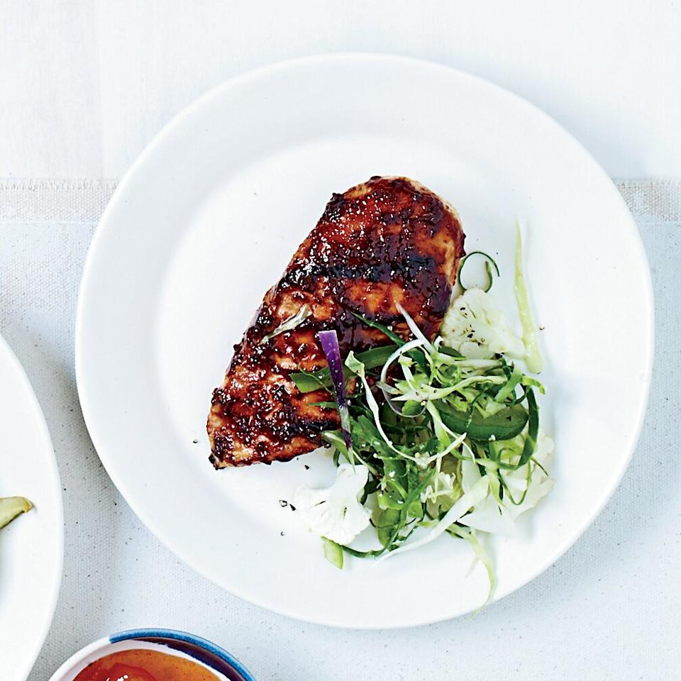 "<p>For this sweet and tangy <a href=""/slideshows/grilled-chicken"">chicken</a>, Marcie Turney blends tamarind and other <a href=""/slideshows/easy-indian"">Indian</a> flavors into her molasses <a href=""/slideshows/barbecued-ribs"">barbecue</a> sauce.</p> <p><strong>Pairing:</strong> Juicy, full-bodied rosé: 2010 Muga.</p><p><a href=""https://www.foodandwine.com/recipes/indian-barbecue-chicken"">GO TO RECIPE</a></p>"