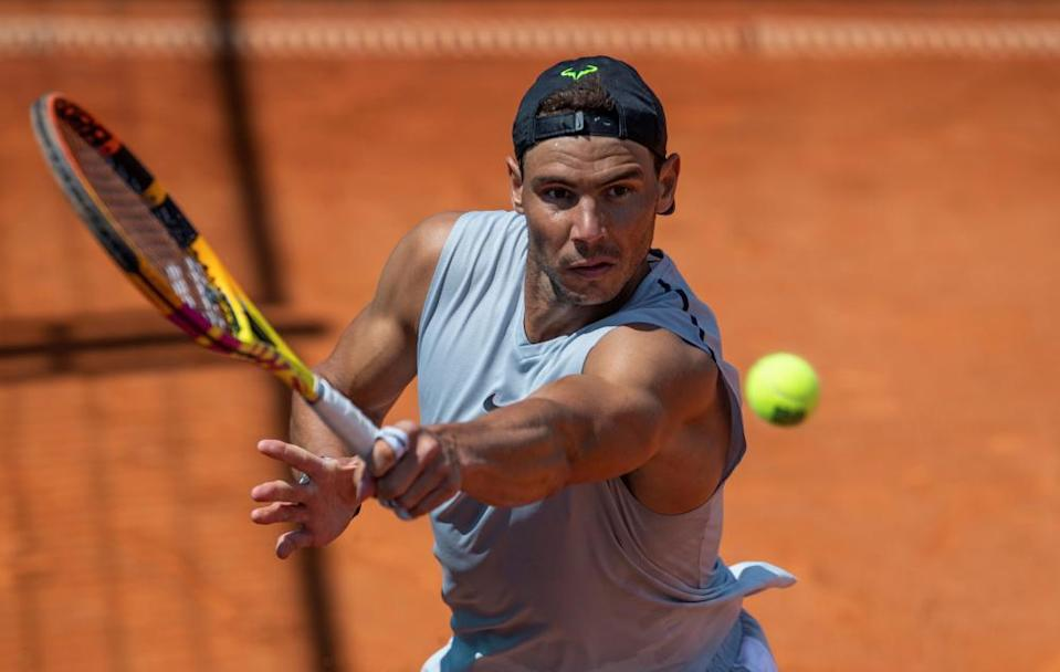 Rafael Nadal trains ahead of his first match at the 2021 Mutua Madrid Open.
